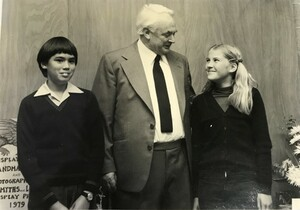 George Holden and two students