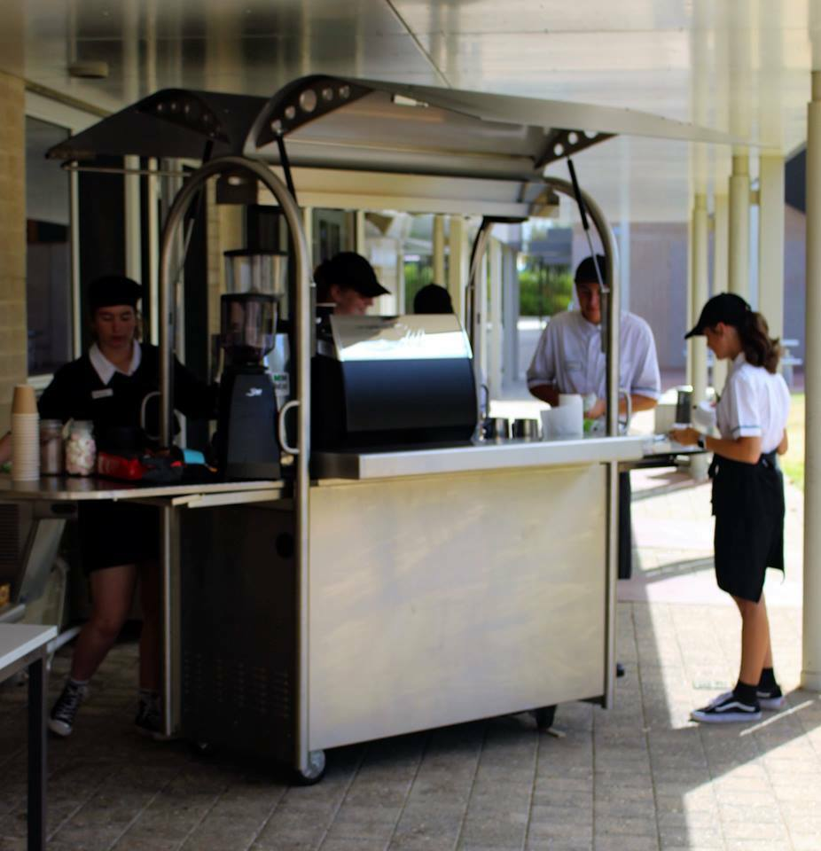 Hospitality Students using the new Mobile Coffee Machine