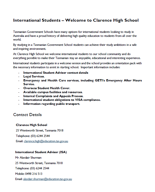 International Student Information CHS