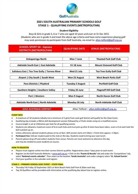 SA PSGE Schedule
