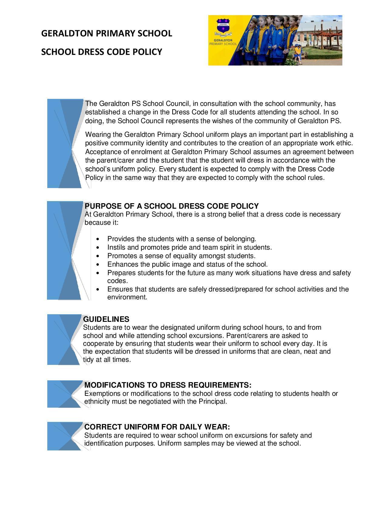 2018 Geraldton PS School Dress Code Policy - Draft - Nov 2017-page-001