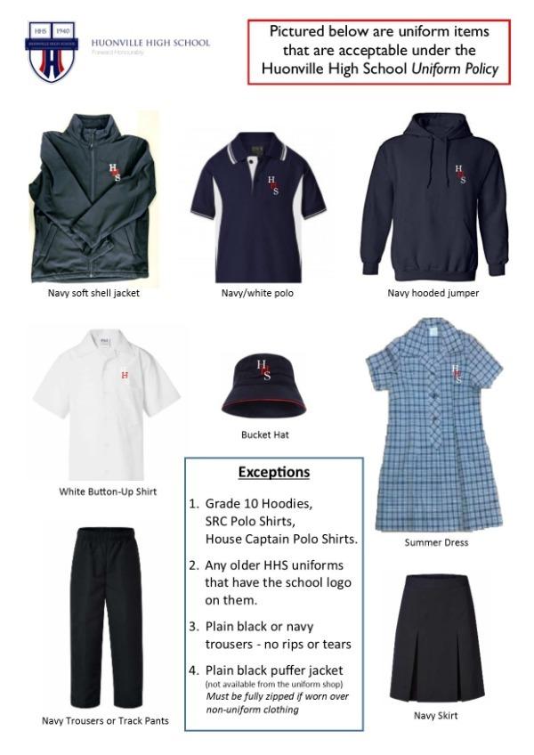 Acceptable uniform items image