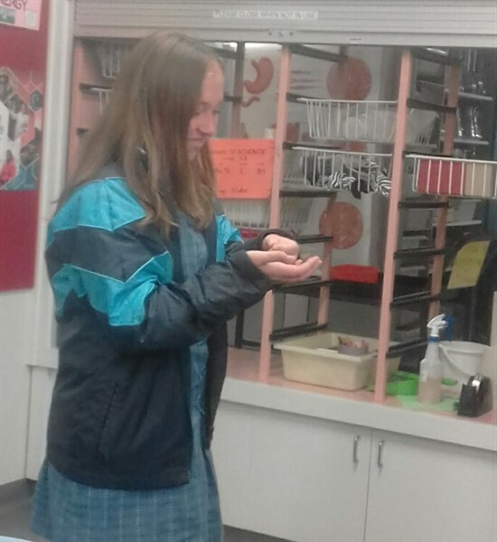 9F girl + mealworms