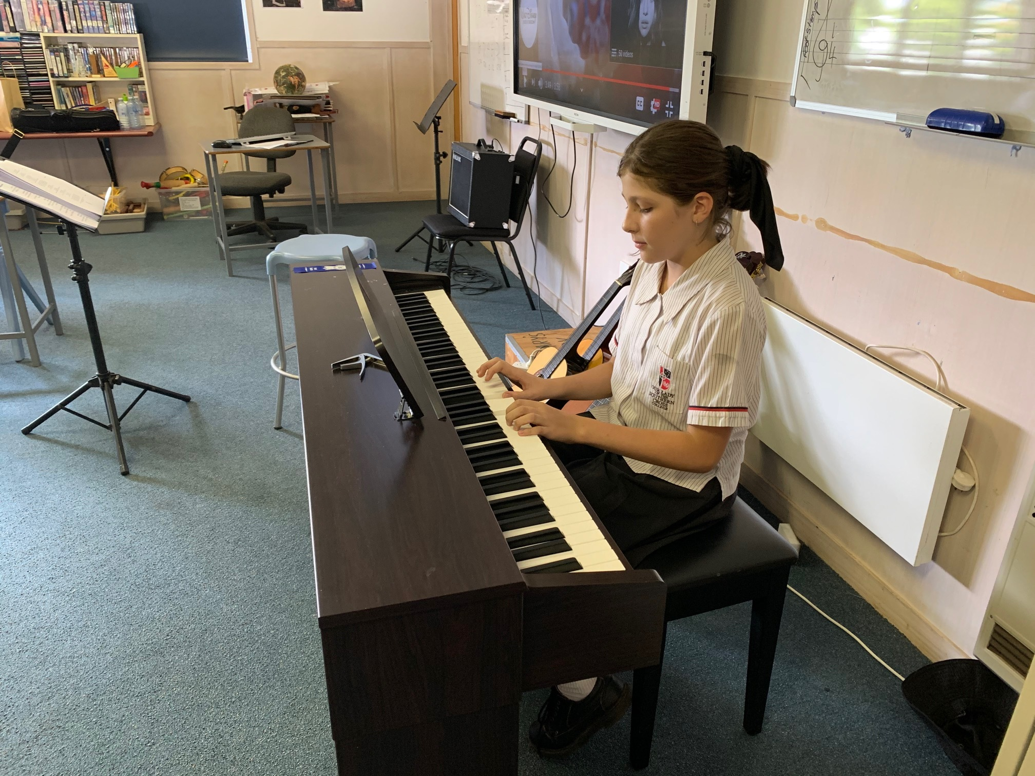 Kirra Gowlett in y6 performs an original composition for the class