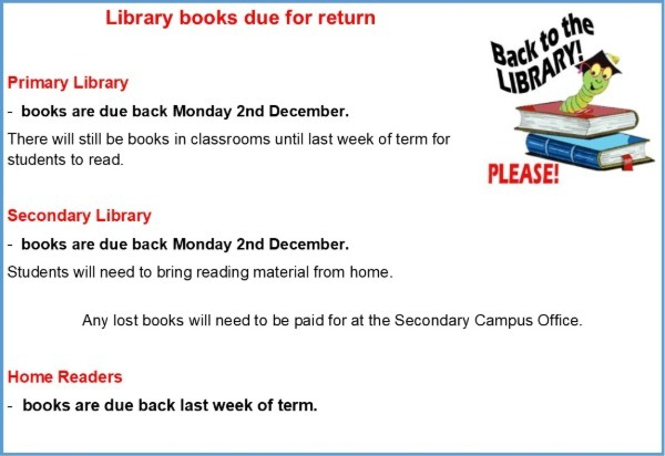 End of Year Library Books Due