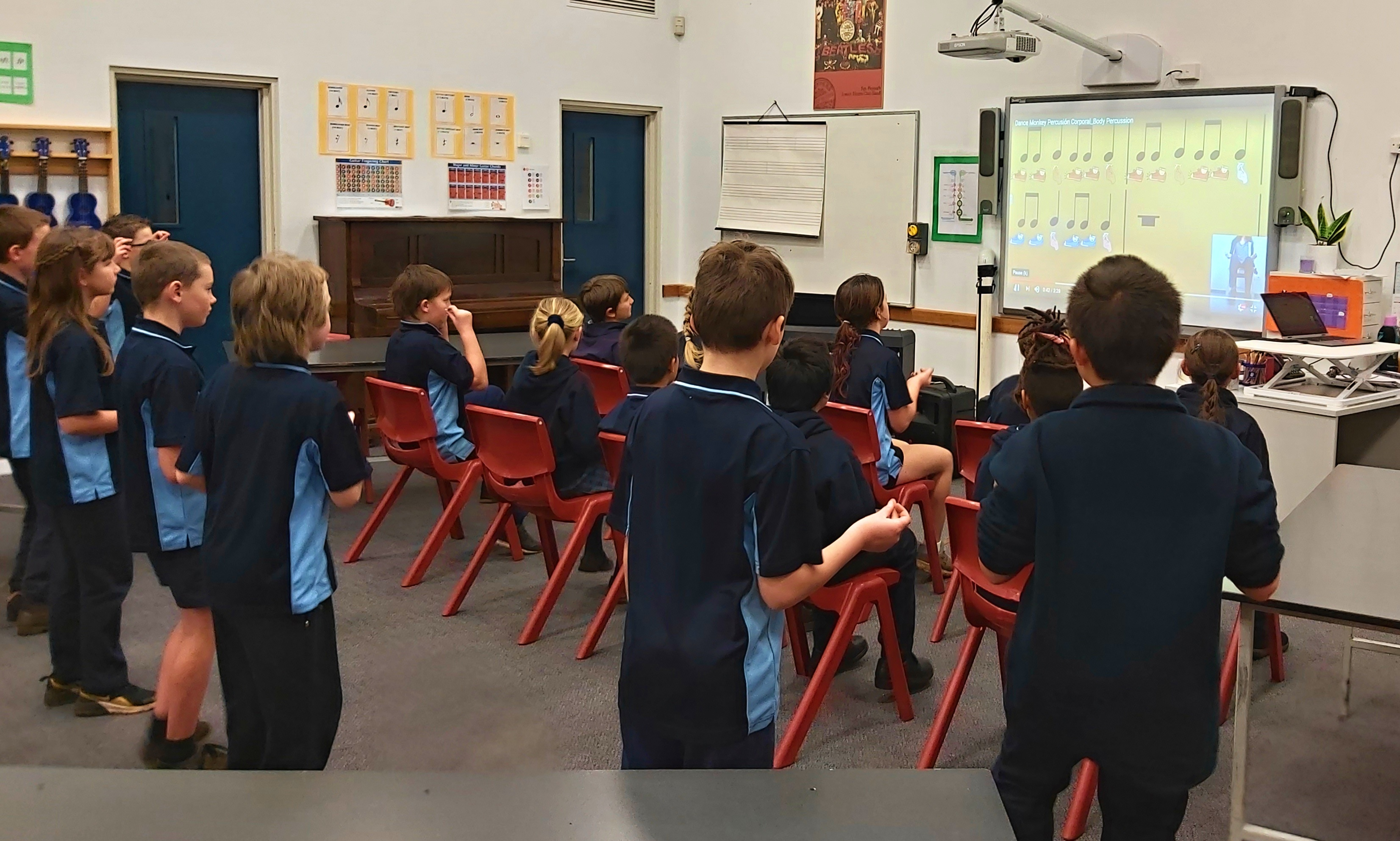 Years 3 and 4 B learning body percussion to Dance Monkey.