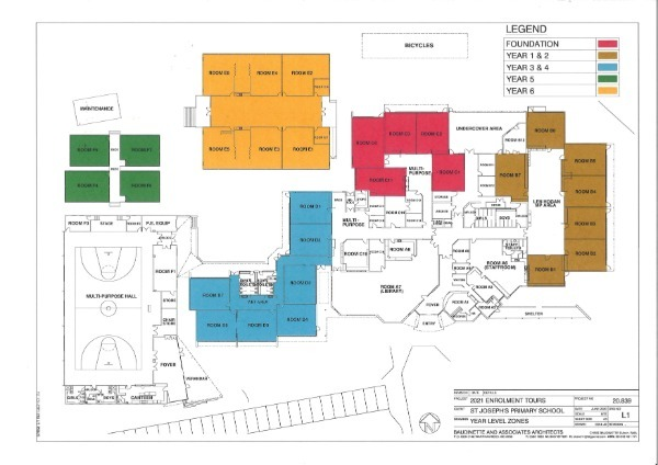 Whole School Map displaying Year Level Zones