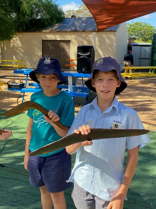 Ted and Hamish with a boomerang