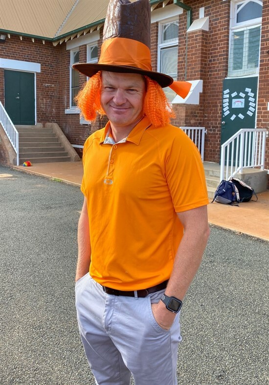 Mr Nielsen in orange supporting Bullying No Way