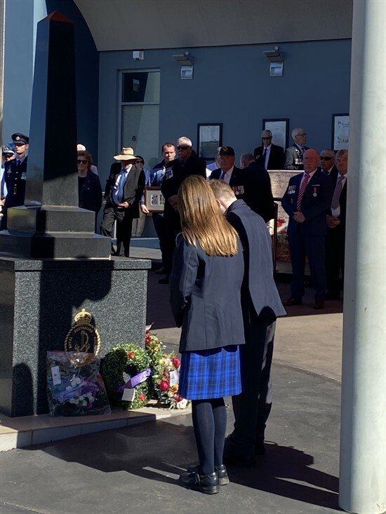 Our school captains laying the wreath