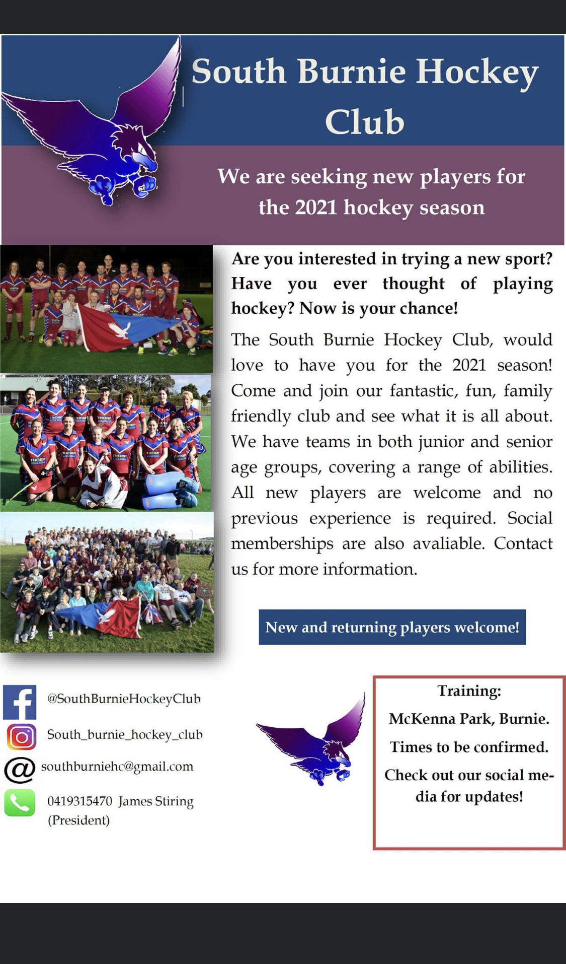 South Burnie Hockey Club 2021 flyer