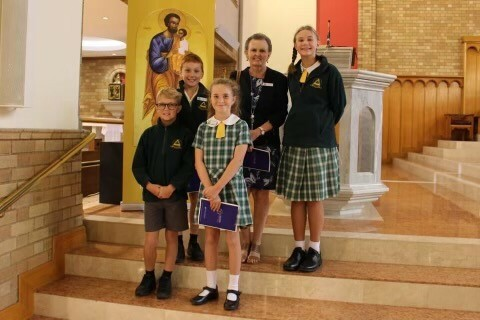 Yr 6 captains inside cathedral
