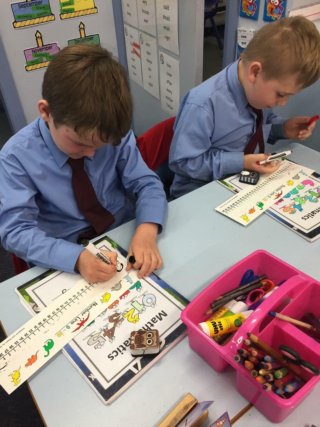 Using number lines to solve maths probems