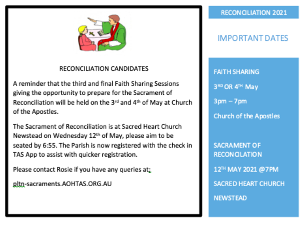 Reconciliation Faith Sharing Newsletter